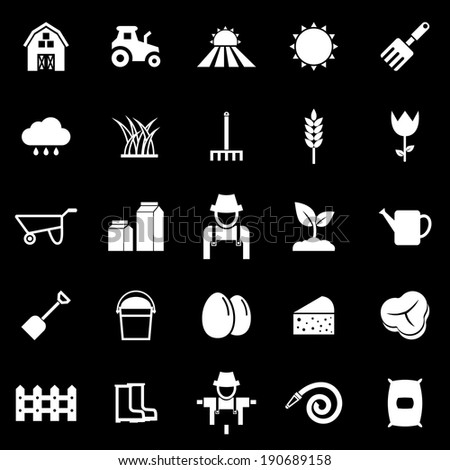 Farming icons on black background, stock vector