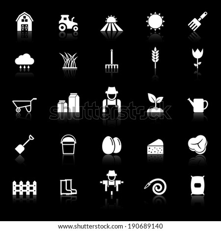Farming icons with reflect on black background, stock vector