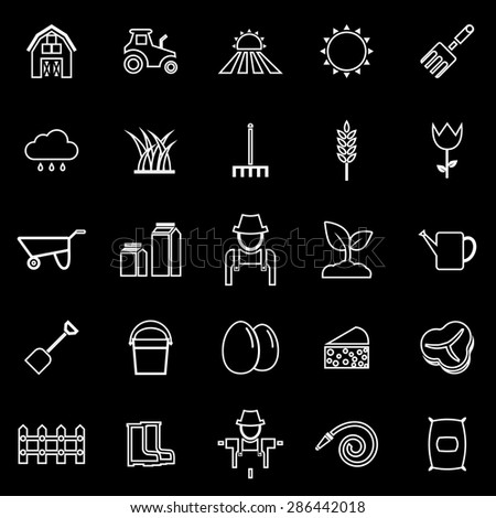 Farming line icons on black background, stock vector