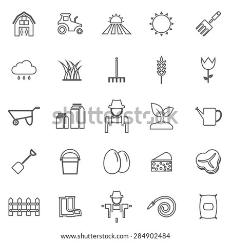 Farming line icons on white background, stock vector