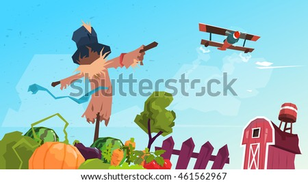 Farmland Countryside Landscape With Scarecrow Flat Vector Illustration