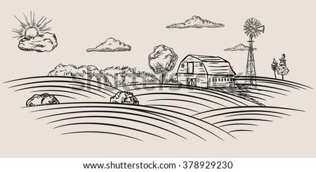 Farmland sketch - stock vector