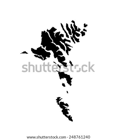 Faroe Islands vector map, vector map isolated on white background. High detailed silhouette illustration - stock vector