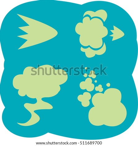 Fart. Smells set. Stink aroma. Isolated symbols. On aquamarine background.