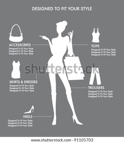 FASHION ACCESSORIES AND CLOTHING ICONS AND ELEMENTS. Editable vector illustration file. - stock vector