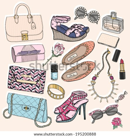 Fashion accessories set. Background with bags, sunglasses, shoes, jewelery, makeup and flowers. - stock vector