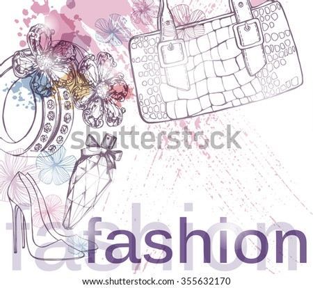 Fashion and beauty background  with luxury   beautiful diamond ring, handbag and perfume. Use for advertising flyer, banner, leaflet. Template Vector. - stock vector