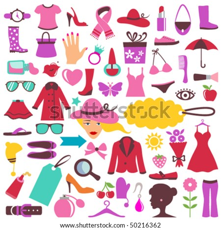 fashion and beauty icons - stock vector