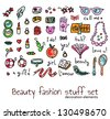 fashion and beauty women accessories elements set - stock vector