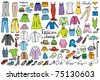 fashion and clothing color icons vector collection - stock vector