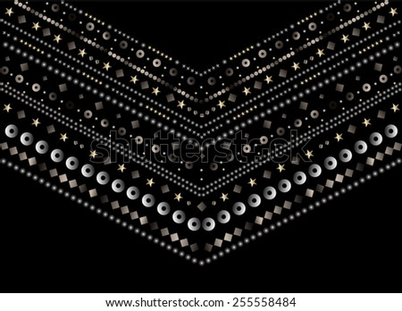 Fashion apparel artwork for neck embellishment in vector. - stock vector