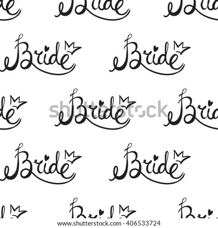 Fashion attractive fashion wedding background with bride sign. Beautiful hand drawn sketch on white background. Fashion, style, beauty, advertising greeting card, banner, design
