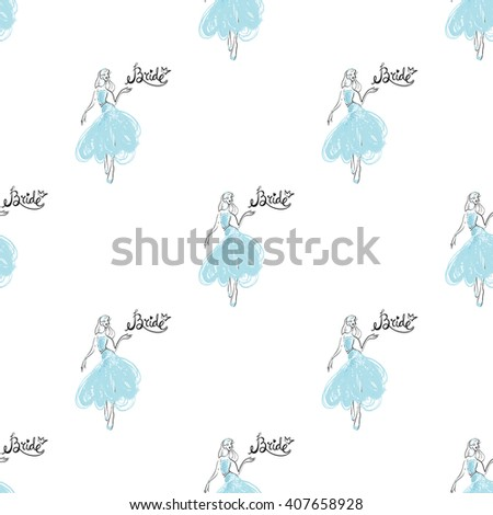 Fashion attractive fashion wedding background with the bride. Beautiful hand drawn sketch on white background. Fashion, style, beauty, advertising greeting card, banner, design - stock vector