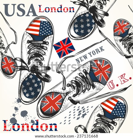 Fashion background with sports boots decorated by British and USA flags - stock vector