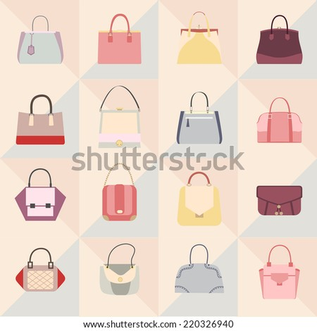 Fashion bags. Set of fashion icons - stock vector
