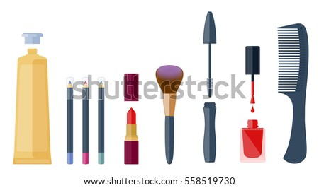 Fashion beautician cosmetic accessories: eyeliner, lip pen, lipstick, eyeshadow, mascara brush, nail varnish, cream tube, comb. Flat illustration of cosmetical equipment set. Vector isolated elements.