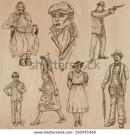 FASHION between years 1870-1970. Collection of an hand drawn illustrations (vectors, pack no.2). Each drawing comprises of three or four layers of lines, colored background is isolated. Easy editable. - stock vector