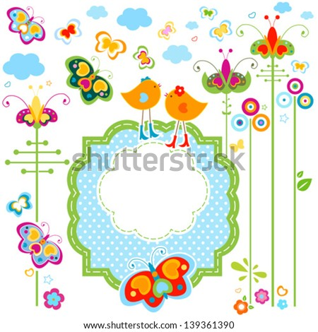 fashion birds card with colorful flowers and butterflies