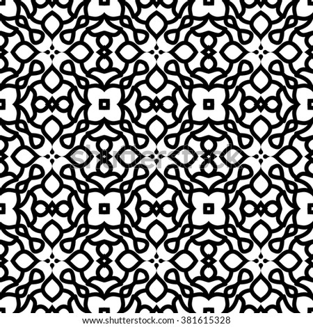 Fashion black and white background, seamless pattern, kaleidoscope, lace decoration, vector illustration