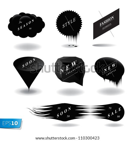Fashion black speech bubble set, vector Eps10 illustration.