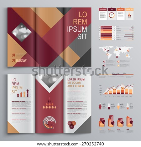 Fashion Brochure Template Design Red Gray Stock Vector