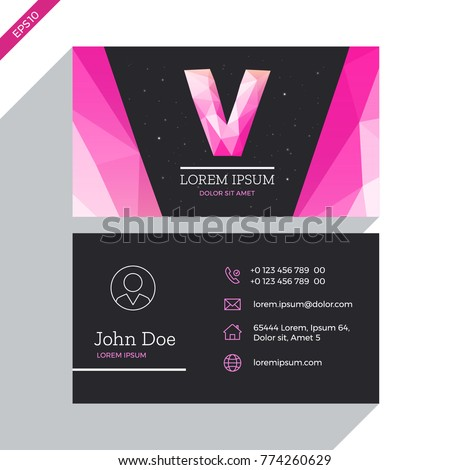 Fashion business card template design vector stock vector 2018 fashion business card template design vector concept with logo letter v outline icons and cheaphphosting Images