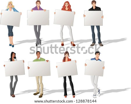 Fashion cartoon young people holding colorful white cards / boards. - stock vector