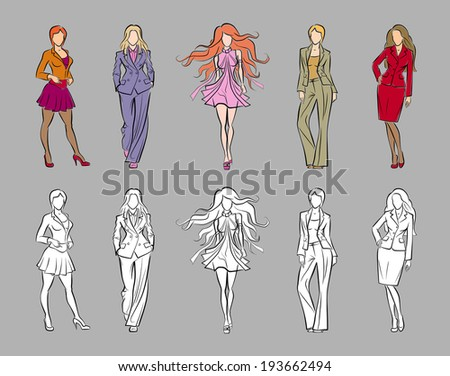 Fashion Catwalk Models. Vector image set of fashion female models in sketchy/hand-drawing style - stock vector