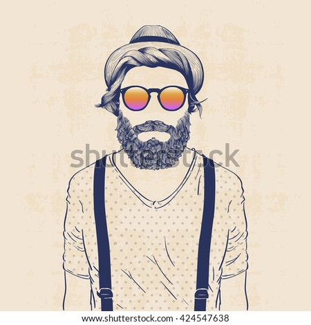 fashion character illustration, cool hipster with hat, sun glasses and galluses
