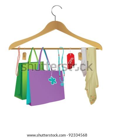 Fashion cloth hanger - stock vector