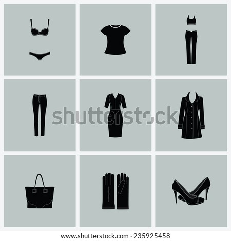 Fashion clothes for woman.Vector flat icons isolated on white - stock vector