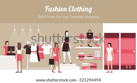 Fashion clothing store banner with shop interior, clothing on hangers and shelves, fitting rooms and customers buying products