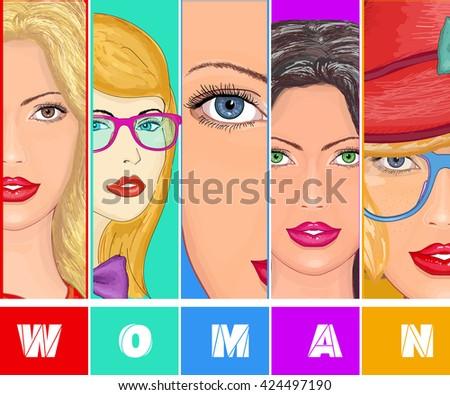beautiful young women with stylish make up beauty theme