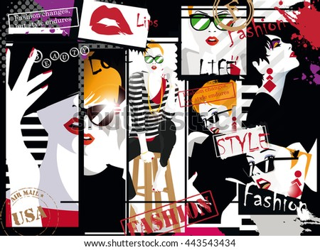 Fashion collage. Fashion girl in sketch-style. Vector illustration.