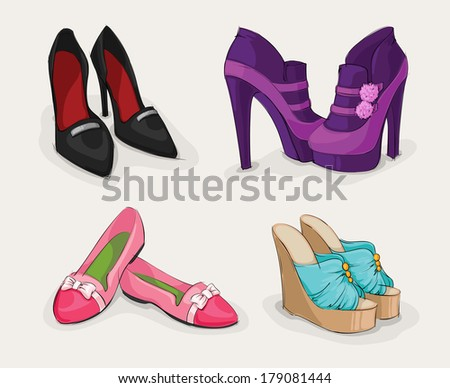 Fashion collection of classic woman's black shoes on high heels ankle boots and sandals isolated vector illustration - stock vector