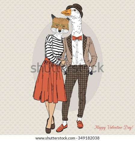 fashion couple of foxy girl and goose boy hipster, Valentine Day design - stock vector