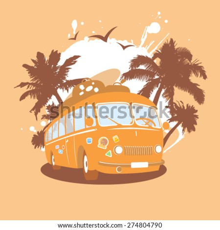 Fashion design template with retro bus and tropical view