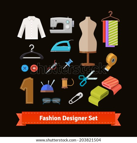 Fashion designer tools and materials flat icon set. EPS 10 vector. - stock vector