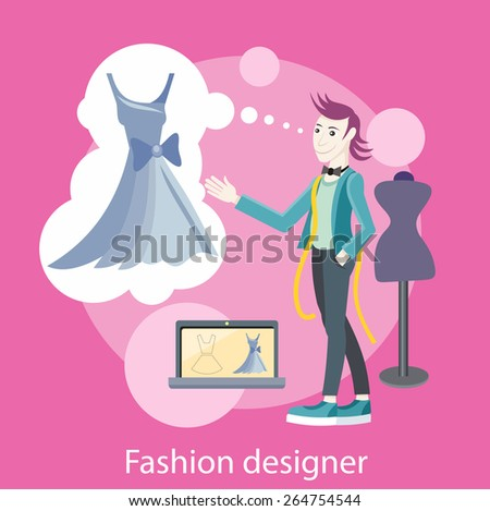 Fashion designer working on his designs in the studio. Concept in flat design style. Can be used for web banners, marketing and promotional materials, presentation templates - stock vector