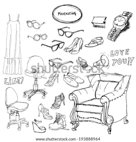 Fashion doodle set - marketing. Vector illustration. - stock vector