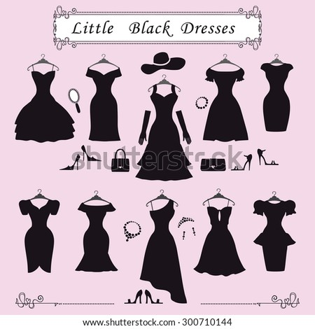 Fashion dress.Different styles of little black party dresses Silhouette set.Composition made in modern flat vector style.Handbag,high heel shoes,jewelry decoration,swirling frame.Isolated Illustration - stock vector