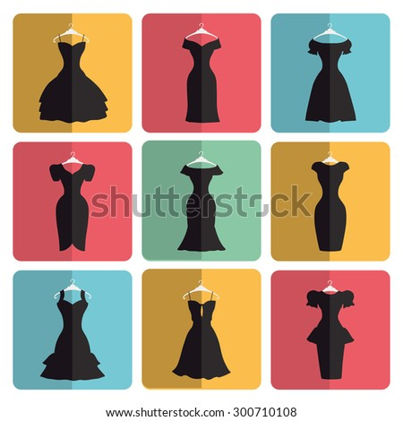 Fashion dress.Flat icons signs.Different styles of little black party dresses, Silhouette set.Modern vector simple Composition.Illustration for web,mobile,print.Button with shadow - stock vector