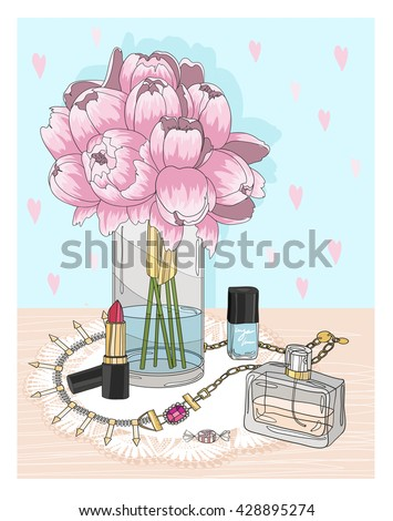 Fashion essentials. Background with jewellery, perfume, make up and flowers. Fashion accessories.  - stock vector