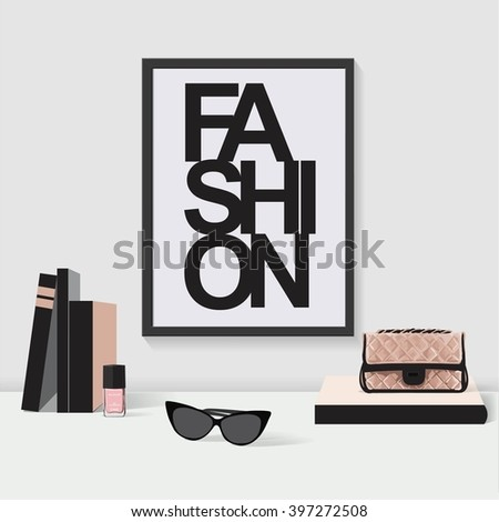 Fashion frame, workplace, beauty, interior, woman room - stock vector