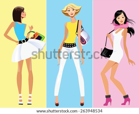 fashion funny girl on colored background - stock vector