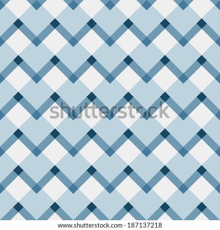 Fashion geometric pattern in retro blue colors, seamless vector background. For fashion textile, cloth, backgrounds. - stock vector