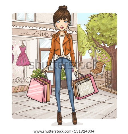 Fashion girl at shopping - stock vector
