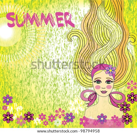 fashion girl background - stock vector