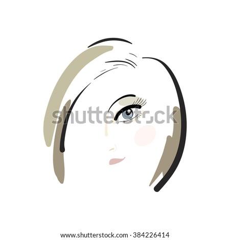 Fashion girl. Girl's head. Brown-haired. Vector illustration. - stock vector