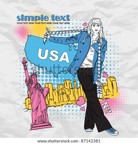 Fashion girl in a coat in sketch-style on a usa-background. Vector illustration. Place for your text. - stock vector